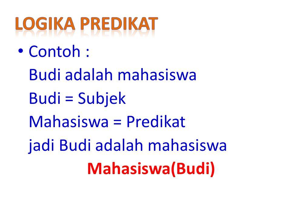 Contoh : Budi adalah mahasiswa Budi = Subjek Mahasiswa = Predikat jadi Budi adalah mahasiswa Mahasiswa(Budi)