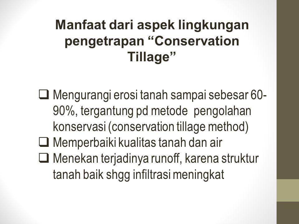  Mengurangi erosi tanah sampai sebesar 60- 90%, tergantung pd metode pengolahan konservasi (conservation tillage method)  Memperbaiki kualitas tanah