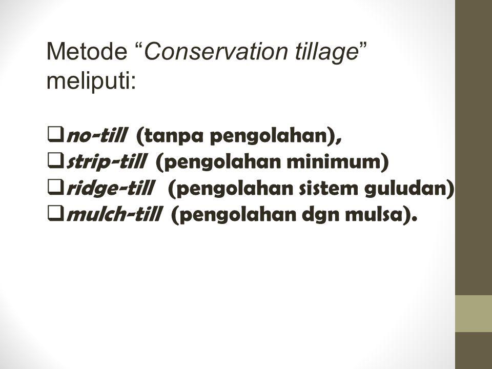 "Metode ""Conservation tillage"" meliputi:  no-till (tanpa pengolahan),  strip-till (pengolahan minimum)  ridge-till (pengolahan sistem guludan)  mul"