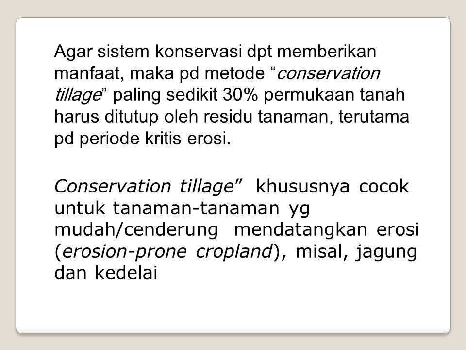 "Agar sistem konservasi dpt memberikan manfaat, maka pd metode ""conservation tillage"" paling sedikit 30% permukaan tanah harus ditutup oleh residu tana"