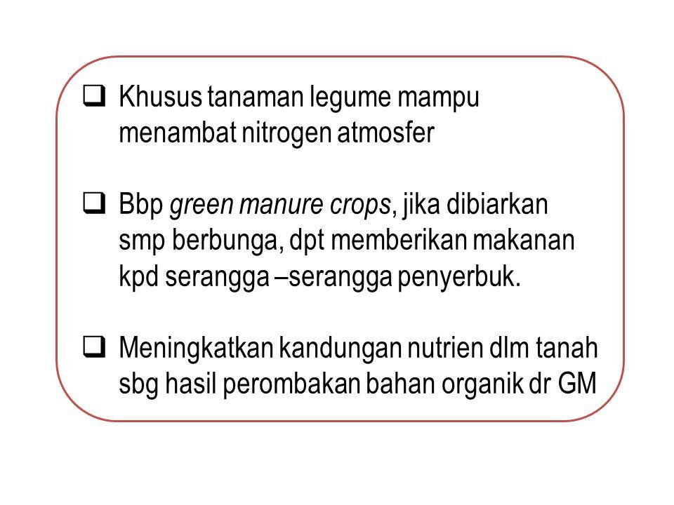  Khusus tanaman legume mampu menambat nitrogen atmosfer  Bbp green manure crops, jika dibiarkan smp berbunga, dpt memberikan makanan kpd serangga –serangga penyerbuk.