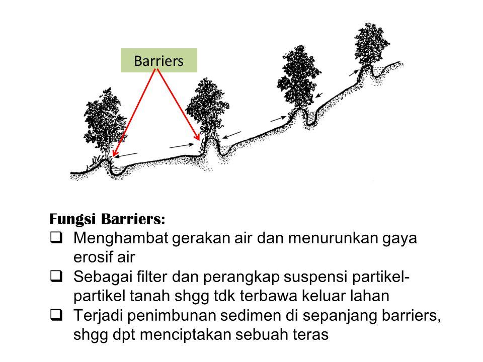 Fungsi Barriers:  Menghambat gerakan air dan menurunkan gaya erosif air  Sebagai filter dan perangkap suspensi partikel- partikel tanah shgg tdk terbawa keluar lahan  Terjadi penimbunan sedimen di sepanjang barriers, shgg dpt menciptakan sebuah teras Barriers