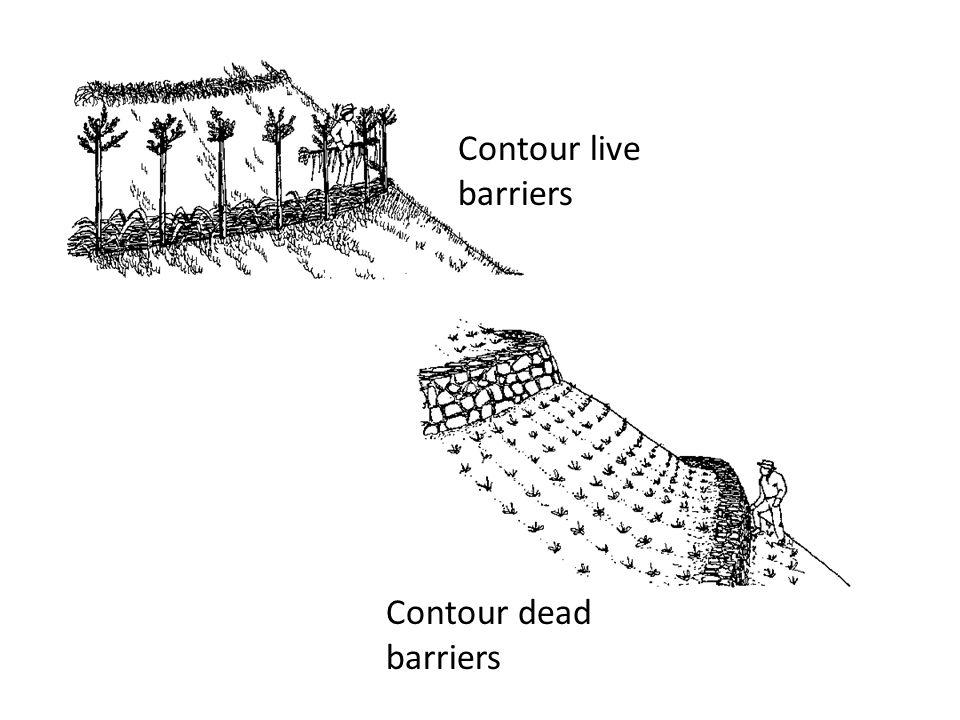 Contour live barriers Contour dead barriers