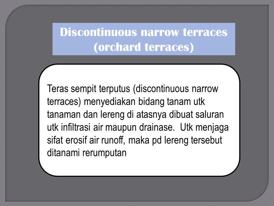 Discontinuous narrow terraces (orchard terraces) Teras sempit terputus (discontinuous narrow terraces) menyediakan bidang tanam utk tanaman dan lereng