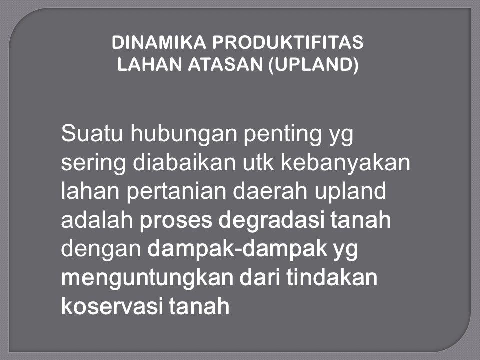 DINAMIKA PRODUKTIFITAS LAHAN ATASAN (UPLAND) Suatu hubungan penting yg sering diabaikan utk kebanyakan lahan pertanian daerah upland adalah proses deg