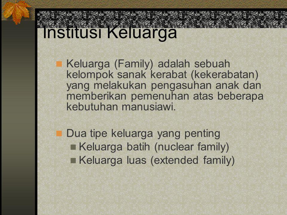 Institusi Keluarga Keluarga (Family) adalah sebuah kelompok sanak kerabat (kekerabatan) yang melakukan pengasuhan anak dan memberikan pemenuhan atas b