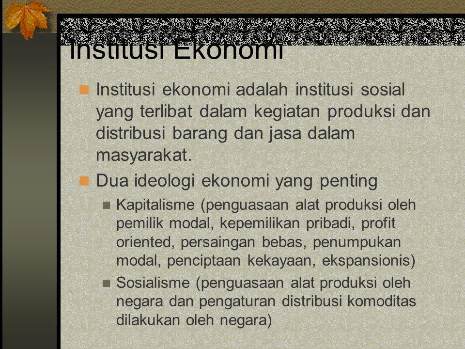 Institusi Ekonomi Institusi ekonomi adalah institusi sosial yang terlibat dalam kegiatan produksi dan distribusi barang dan jasa dalam masyarakat. Dua