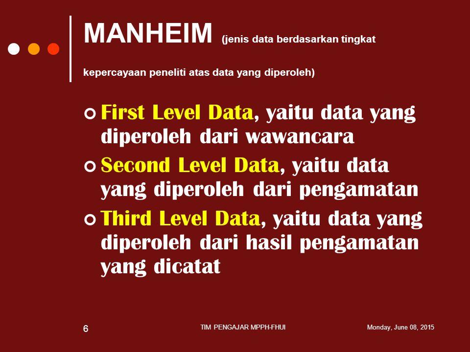 MANHEIM (jenis data berdasarkan tingkat kepercayaan peneliti atas data yang diperoleh) First Level Data, yaitu data yang diperoleh dari wawancara Seco