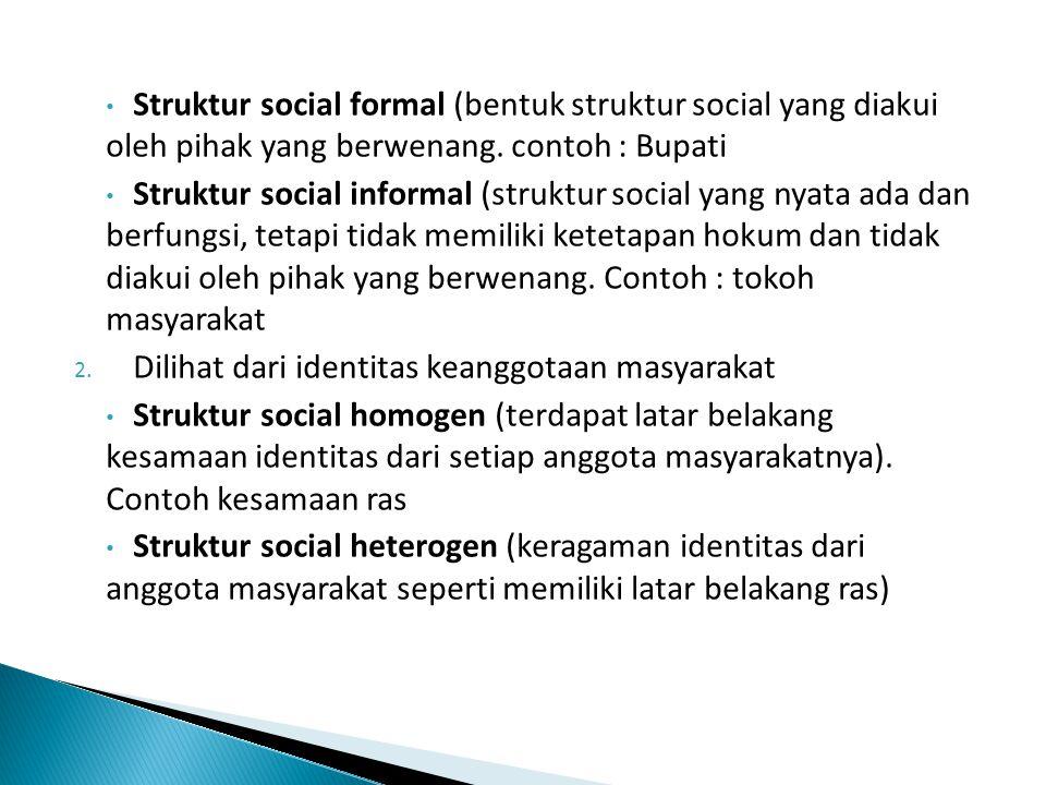 Struktur social formal (bentuk struktur social yang diakui oleh pihak yang berwenang. contoh : Bupati Struktur social informal (struktur social yang n
