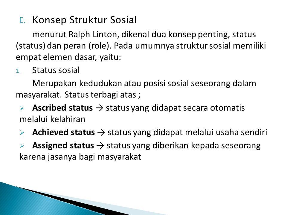 E. Konsep Struktur Sosial menurut Ralph Linton, dikenal dua konsep penting, status (status) dan peran (role). Pada umumnya struktur sosial memiliki em