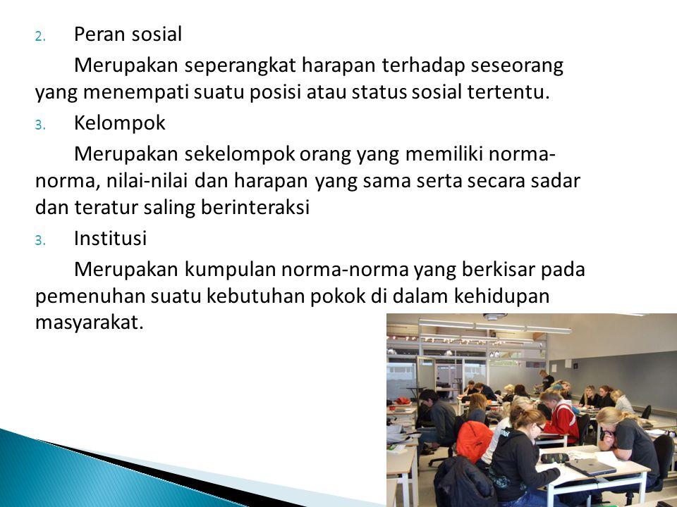 2. Peran sosial Merupakan seperangkat harapan terhadap seseorang yang menempati suatu posisi atau status sosial tertentu. 3. Kelompok Merupakan sekelo