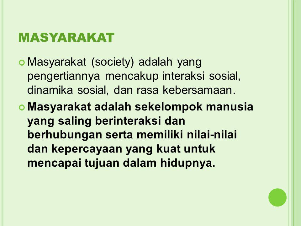 MASYARAKAT Masyarakat (society) adalah yang pengertiannya mencakup interaksi sosial, dinamika sosial, dan rasa kebersamaan. Masyarakat adalah sekelomp