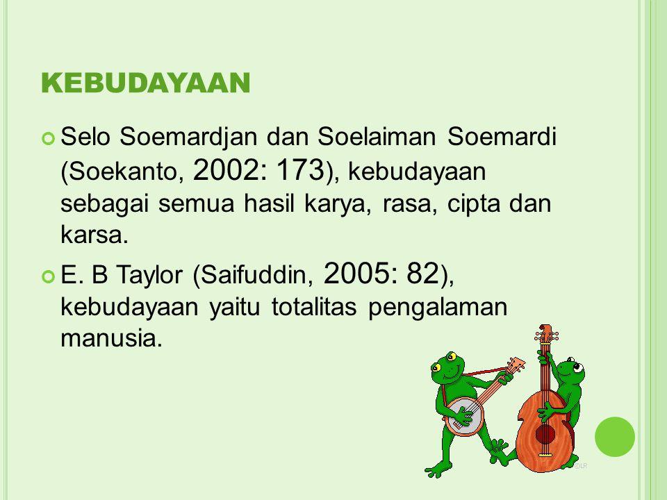 KEBUDAYAAN Selo Soemardjan dan Soelaiman Soemardi (Soekanto, 2002: 173 ), kebudayaan sebagai semua hasil karya, rasa, cipta dan karsa. E. B Taylor (Sa