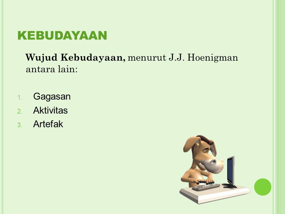 KEBUDAYAAN Wujud Kebudayaan, menurut J.J. Hoenigman antara lain: 1. Gagasan 2. Aktivitas 3. Artefak