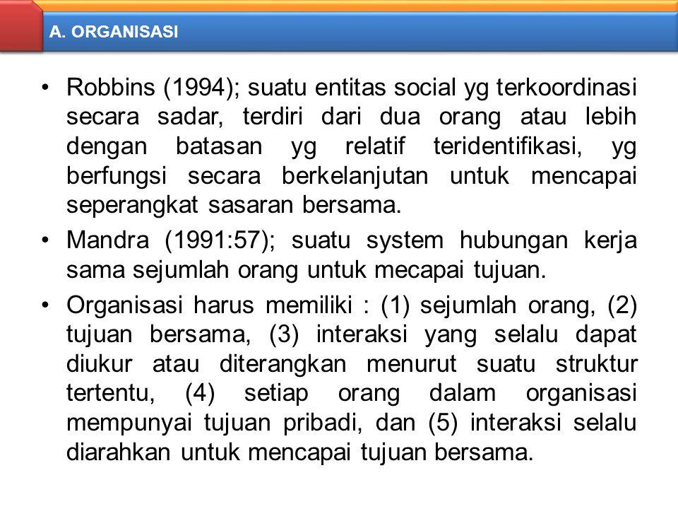 A. ORGANISASI Robbins (1994); suatu entitas social yg terkoordinasi secara sadar, terdiri dari dua orang atau lebih dengan batasan yg relatif terident