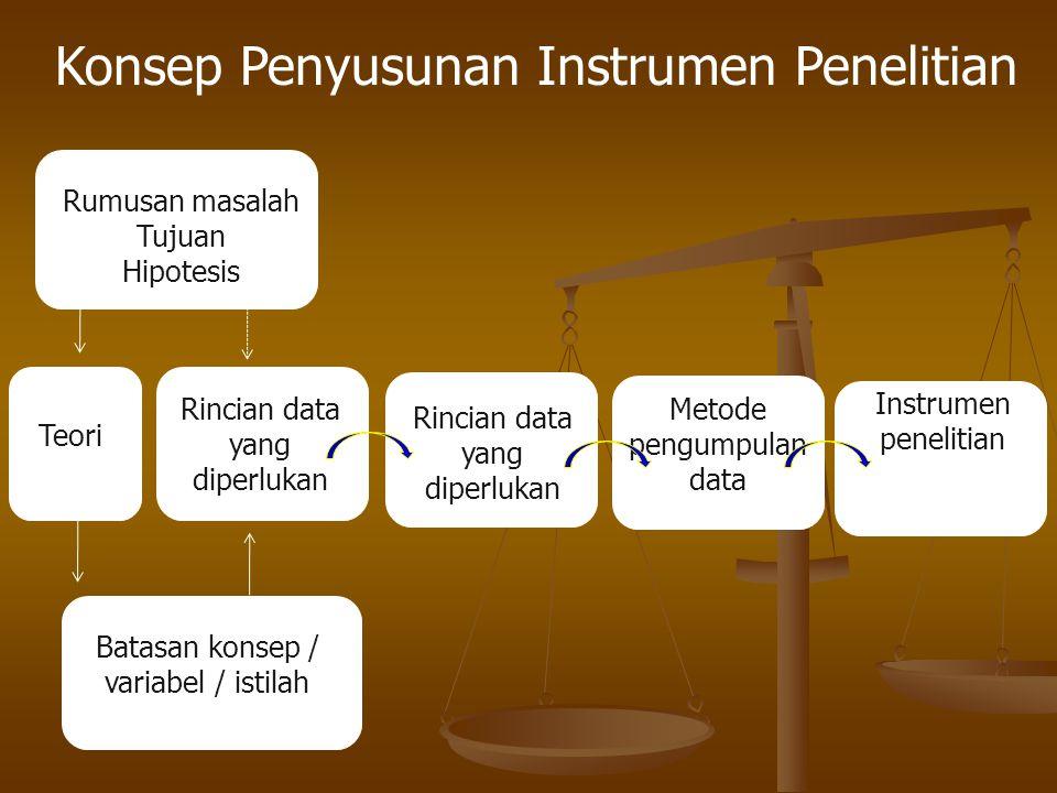 Konsep Penyusunan Instrumen Penelitian Kuantitatif  instrumen pengumpulan data merupakan alat bantu yang digunakan oleh peneliti dalam kegiatan pengu