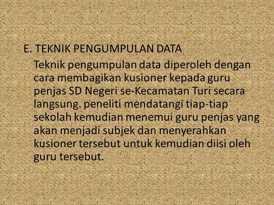 E. TEKNIK PENGUMPULAN DATA Teknik pengumpulan data diperoleh dengan cara membagikan kusioner kepada guru penjas SD Negeri se-Kecamatan Turi secara lan