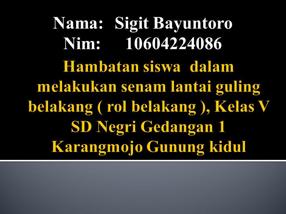 Nama: Sigit Bayuntoro Nim: 10604224086