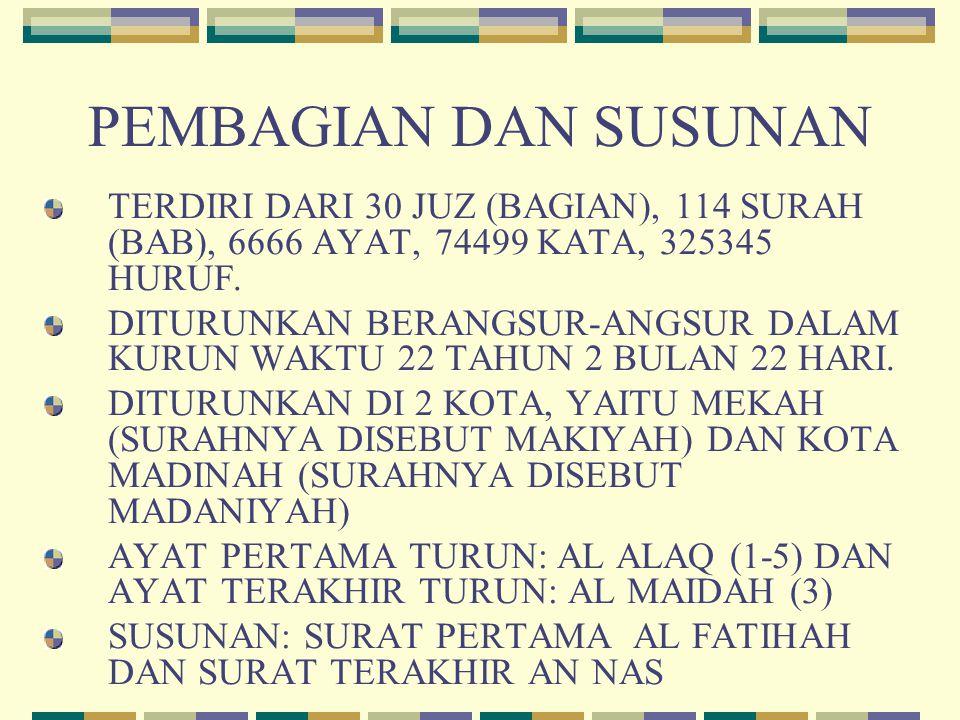 PEMBAGIAN DAN SUSUNAN TERDIRI DARI 30 JUZ (BAGIAN), 114 SURAH (BAB), 6666 AYAT, 74499 KATA, 325345 HURUF.