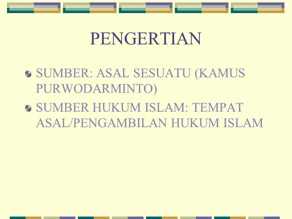 PENGERTIAN SUMBER: ASAL SESUATU (KAMUS PURWODARMINTO) SUMBER HUKUM ISLAM: TEMPAT ASAL/PENGAMBILAN HUKUM ISLAM