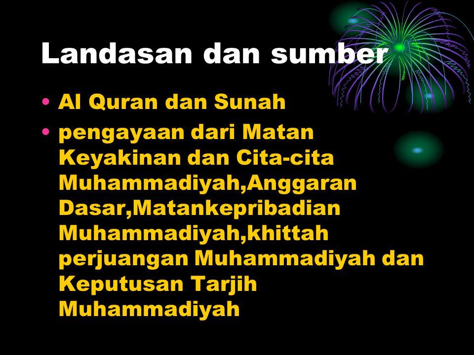 Pemahaman seperangkat nilai dan norma Islami yang bersumber dari Al Qurandan Sunah untuk menjadi pola bagi tingkah laku warga Muhammadiyah dalam menja