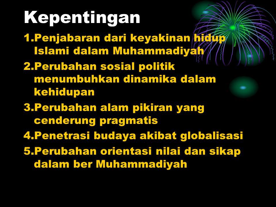 Landasan dan sumber Al Quran dan Sunah pengayaan dari Matan Keyakinan dan Cita-cita Muhammadiyah,Anggaran Dasar,Matankepribadian Muhammadiyah,khittah
