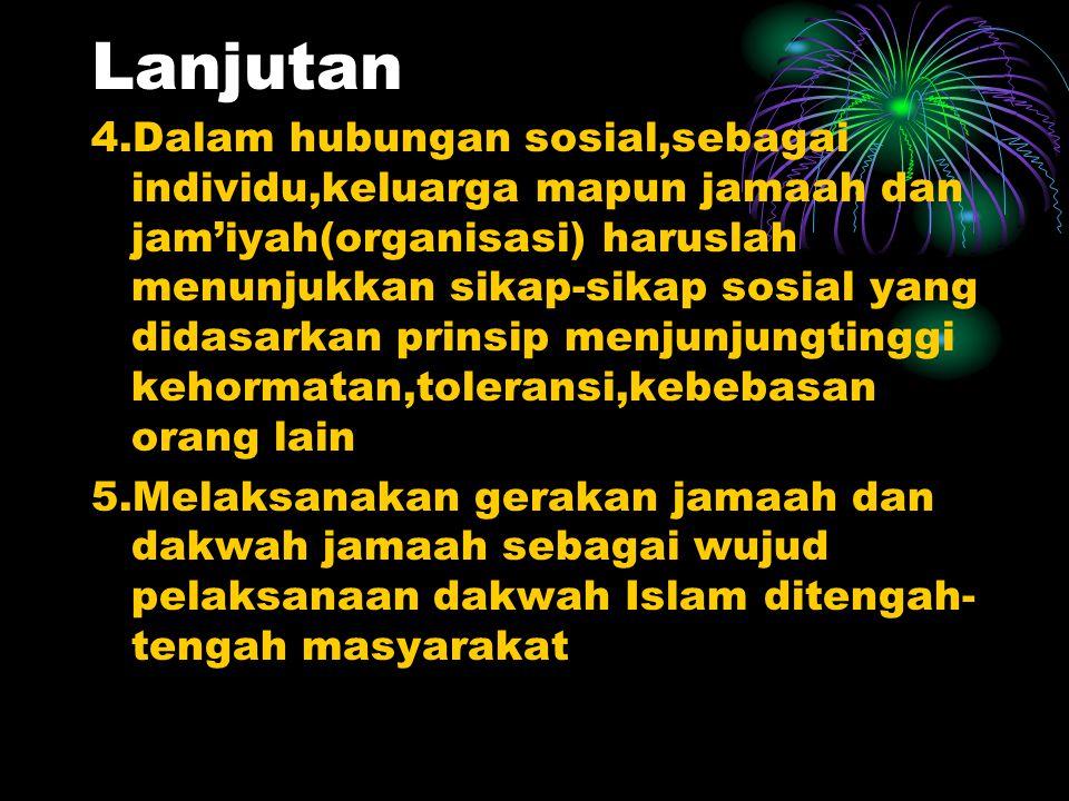 Kehidupan Masyarakat 1.Menjalin persaudaraan dan kebaikan dengan tetangga maupun anggota masyarakat lainnya dengan memelihara hak dan kehormatan baik