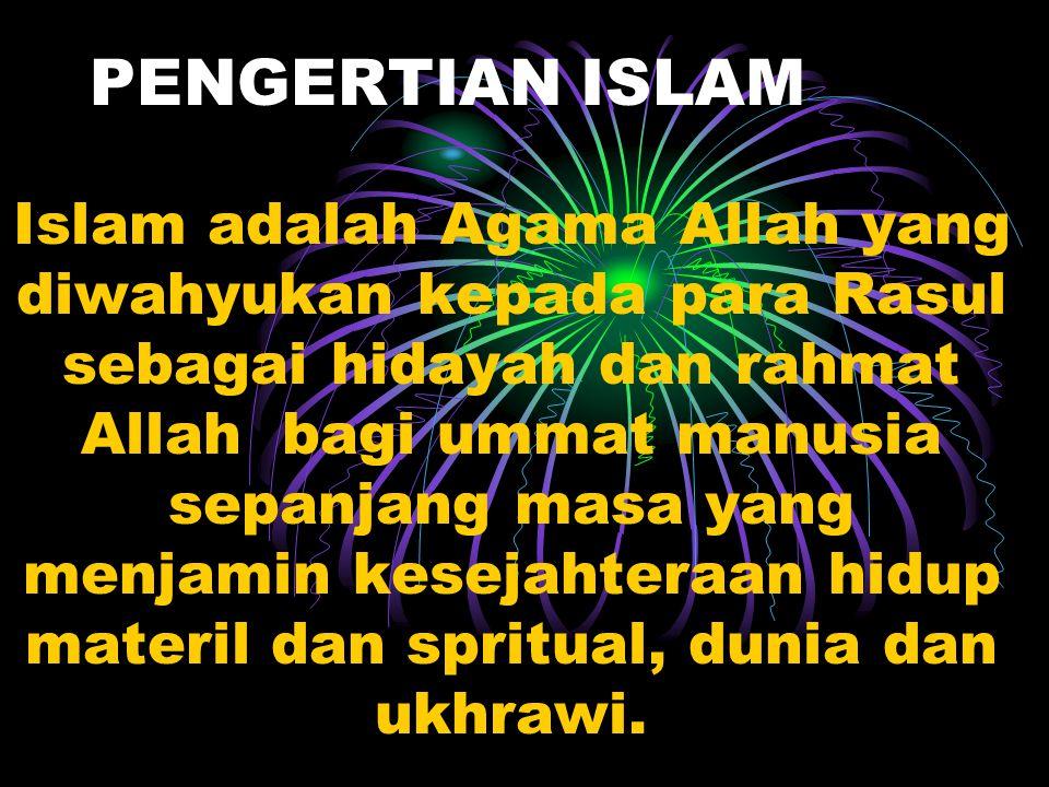 Pandangan Islam tentang Kehidupan Ajaran Islam bersifat menyeluruh yang satu dengan lainnya tidak dapat dipisahkan,meliputi bidang akidah,akhlak,ibada