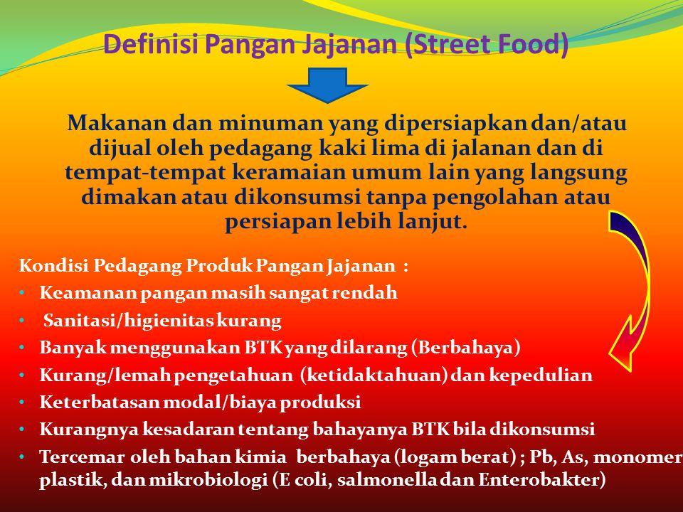 Definisi Pangan Jajanan (Street Food) Makanan dan minuman yang dipersiapkan dan/atau dijual oleh pedagang kaki lima di jalanan dan di tempat-tempat ke