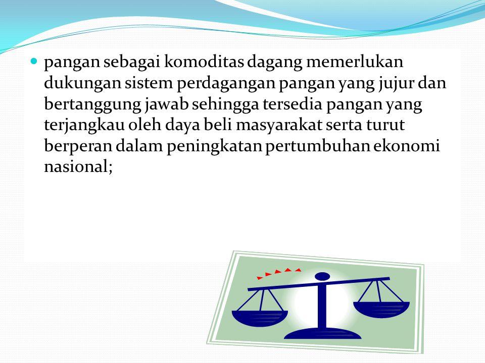 pangan merupakan kebutuhan dasar manusia yang pemenuhannya menjadi hak asasi setiap rakyat Indonesia dalam mewujudkan sumber daya manusia yang berkualitas untuk melaksanakan pembangunan nasional;