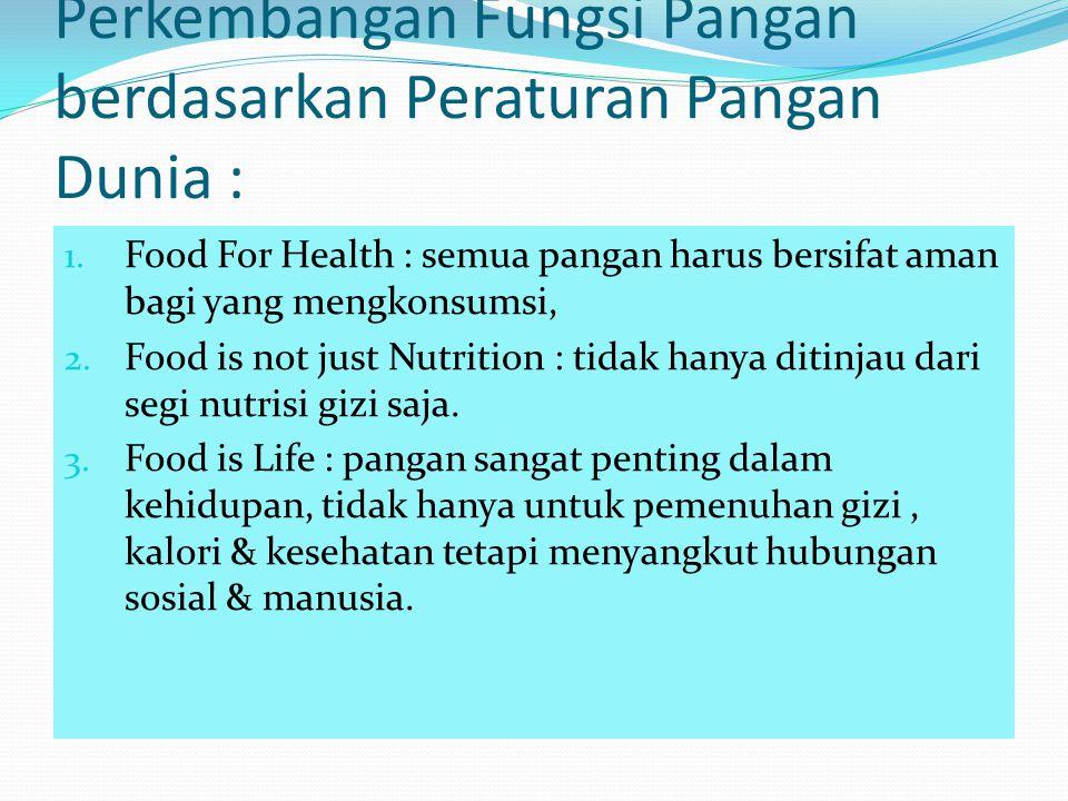 Perkembangan Fungsi Pangan berdasarkan Peraturan Pangan Dunia : 1. Food For Health : semua pangan harus bersifat aman bagi yang mengkonsumsi, 2. Food