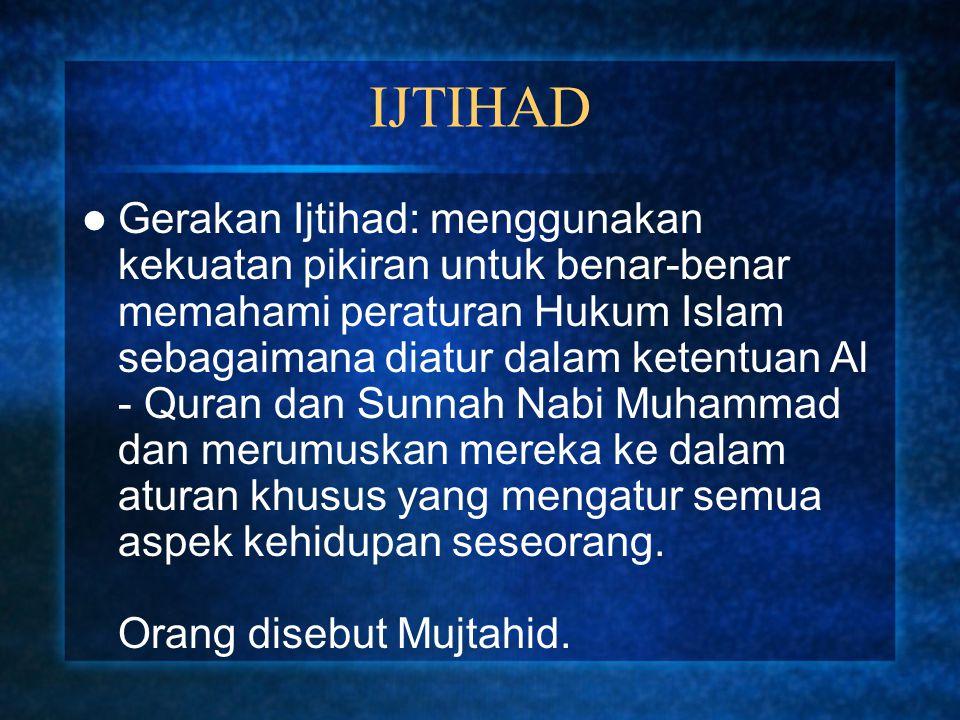 IJTIHAD Gerakan Ijtihad: menggunakan kekuatan pikiran untuk benar-benar memahami peraturan Hukum Islam sebagaimana diatur dalam ketentuan Al - Quran d