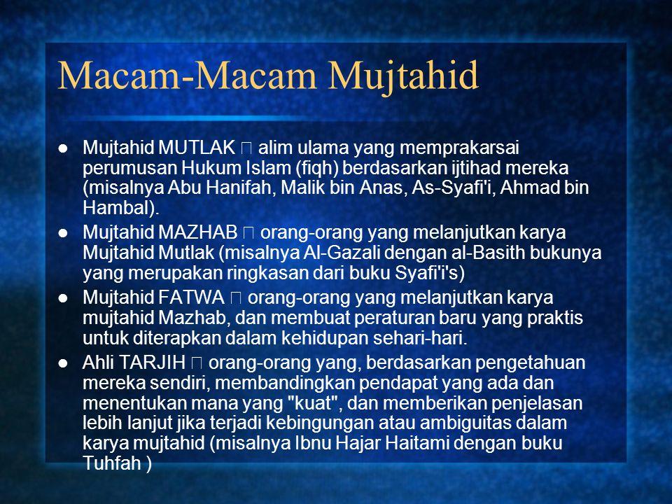 Macam-Macam Mujtahid Mujtahid MUTLAK  alim ulama yang memprakarsai perumusan Hukum Islam (fiqh) berdasarkan ijtihad mereka (misalnya Abu Hanifah, Mal
