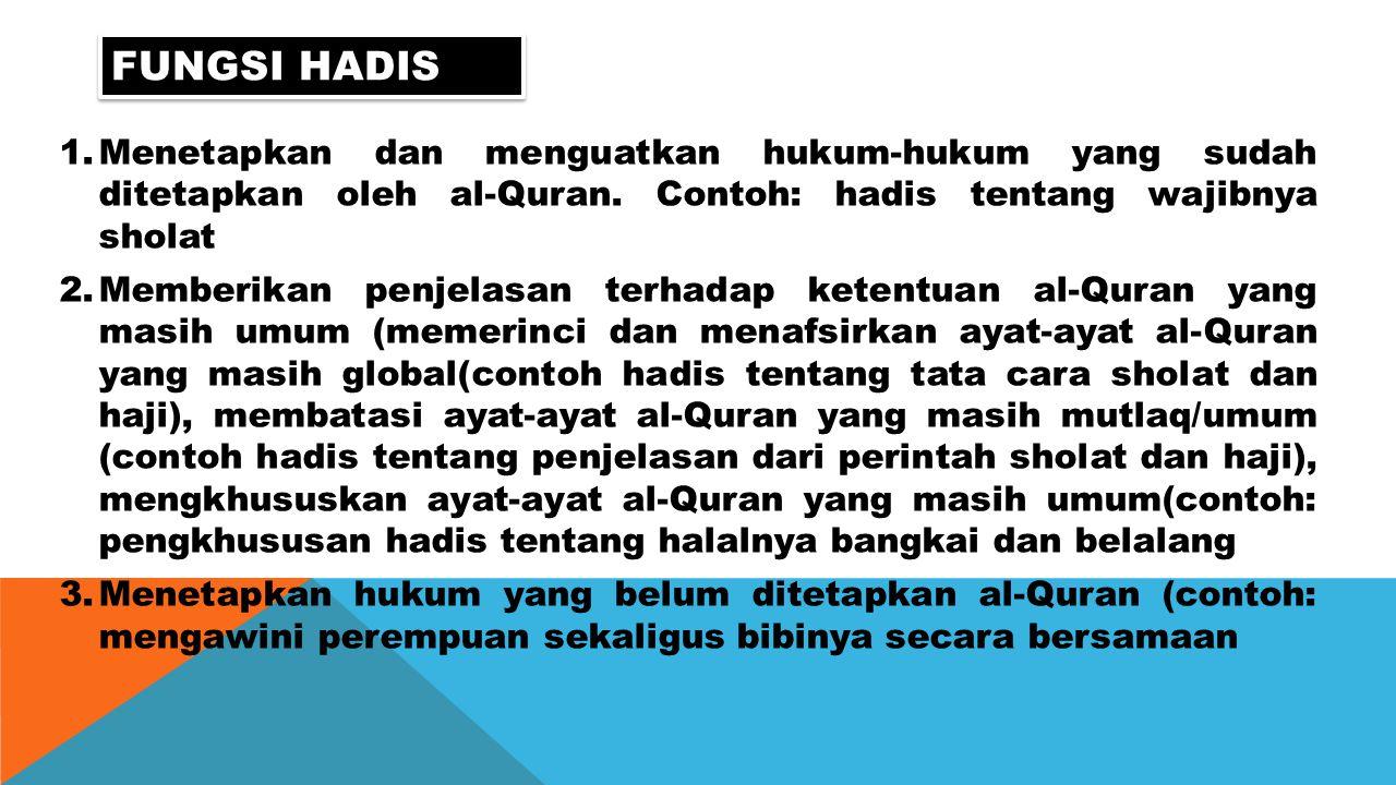 FUNGSI HADIS 1.Menetapkan dan menguatkan hukum-hukum yang sudah ditetapkan oleh al-Quran. Contoh: hadis tentang wajibnya sholat 2.Memberikan penjelasa