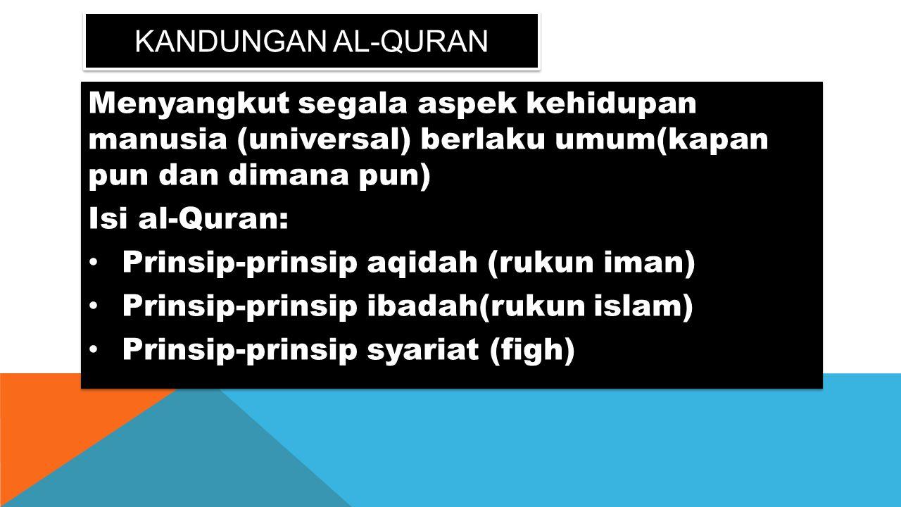 KANDUNGAN AL-QURAN Menyangkut segala aspek kehidupan manusia (universal) berlaku umum(kapan pun dan dimana pun) Isi al-Quran: Prinsip-prinsip aqidah (