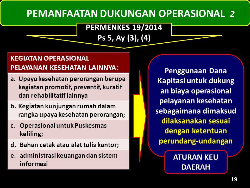 PEMANFAATAN DUKUNGAN OPERASIONAL 2 19 KEGIATAN OPERASIONAL PELAYANAN KESEHATAN LAINNYA: a.Upaya kesehatan perorangan berupa kegiatan promotif, prevent