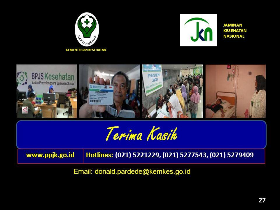 27 KEMENTERIAN KESEHATAN Terima Kasih Untuk Indonesia yang lebih sehat JAMINAN KESEHATAN NASIONAL Hotlines: (021) 5221229, (021) 5277543, (021) 527940