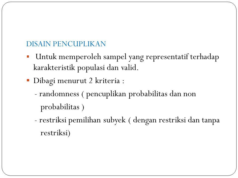 DISAIN PENCUPLIKAN  Untuk memperoleh sampel yang representatif terhadap karakteristik populasi dan valid.  Dibagi menurut 2 kriteria : - randomness