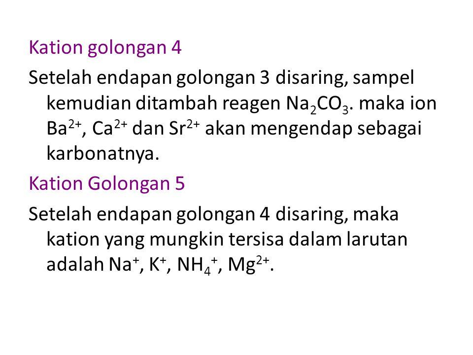 Kation golongan 4 Setelah endapan golongan 3 disaring, sampel kemudian ditambah reagen Na 2 CO 3.