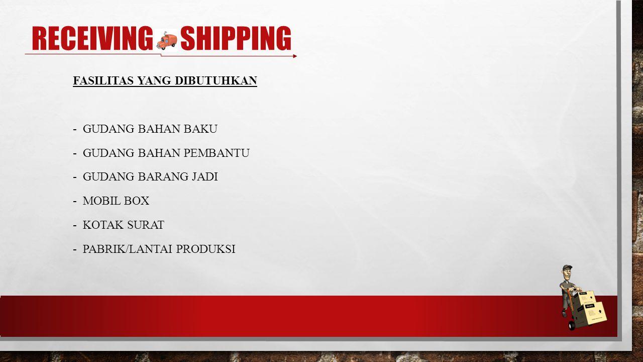 FASILITAS YANG DIBUTUHKAN - GUDANG BAHAN BAKU - GUDANG BAHAN PEMBANTU - GUDANG BARANG JADI - MOBIL BOX - KOTAK SURAT - PABRIK/LANTAI PRODUKSI RECEIVING & SHIPPING