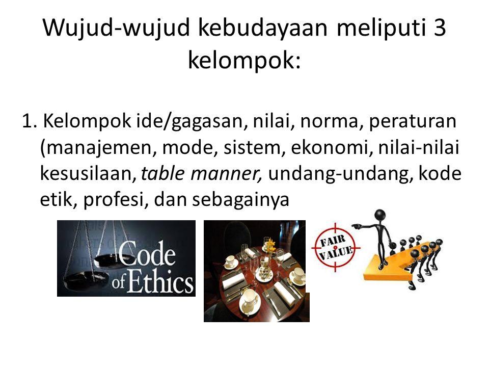 Wujud-wujud kebudayaan meliputi 3 kelompok: 1. Kelompok ide/gagasan, nilai, norma, peraturan (manajemen, mode, sistem, ekonomi, nilai-nilai kesusilaan