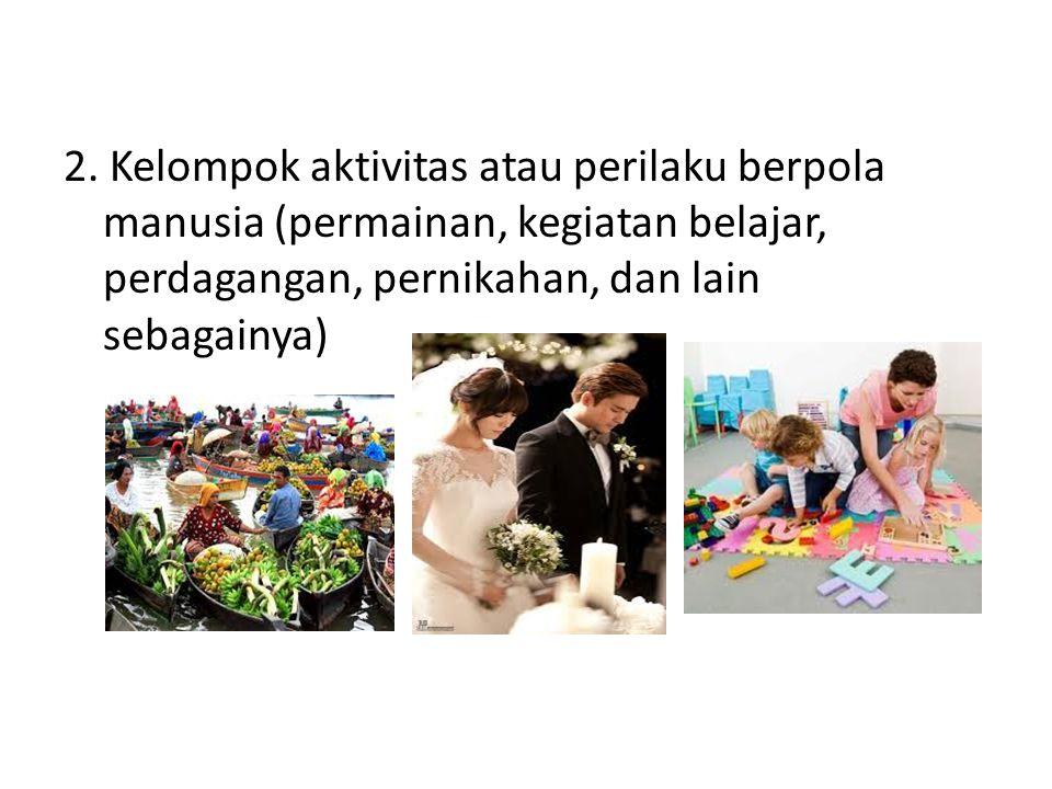 2. Kelompok aktivitas atau perilaku berpola manusia (permainan, kegiatan belajar, perdagangan, pernikahan, dan lain sebagainya)