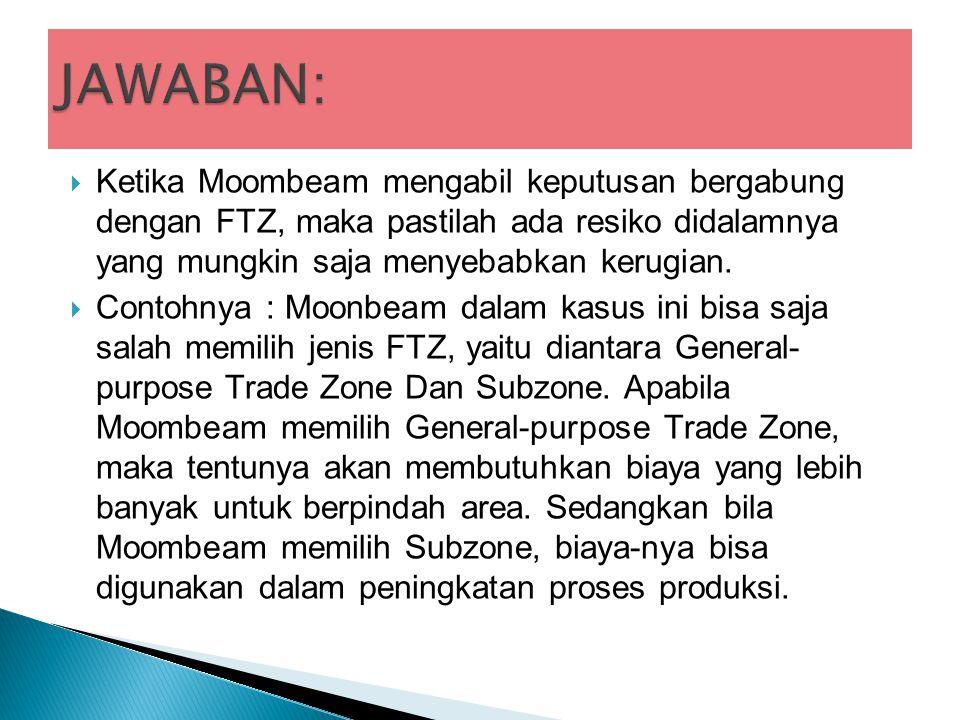  Ketika Moombeam mengabil keputusan bergabung dengan FTZ, maka pastilah ada resiko didalamnya yang mungkin saja menyebabkan kerugian.