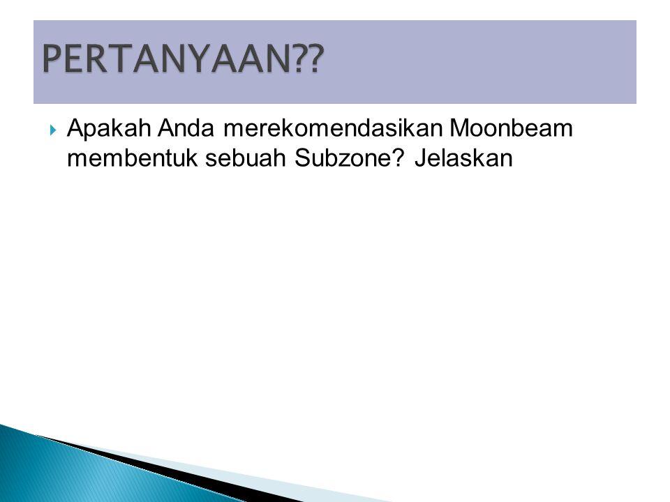  Apakah Anda merekomendasikan Moonbeam membentuk sebuah Subzone Jelaskan
