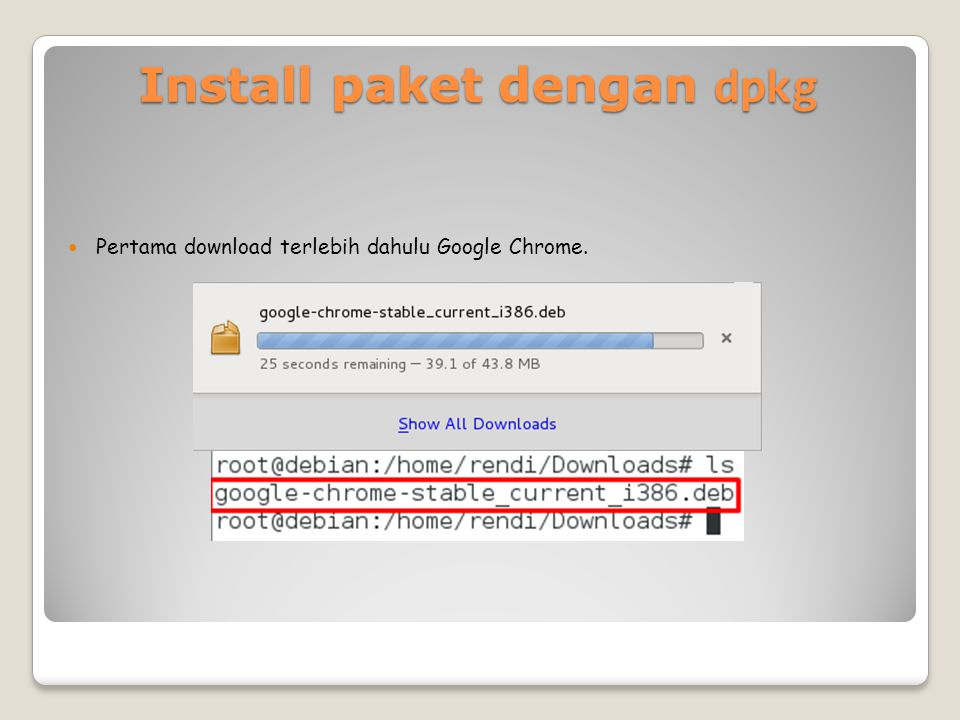 Install paket dengan dpkg Pertama download terlebih dahulu Google Chrome.