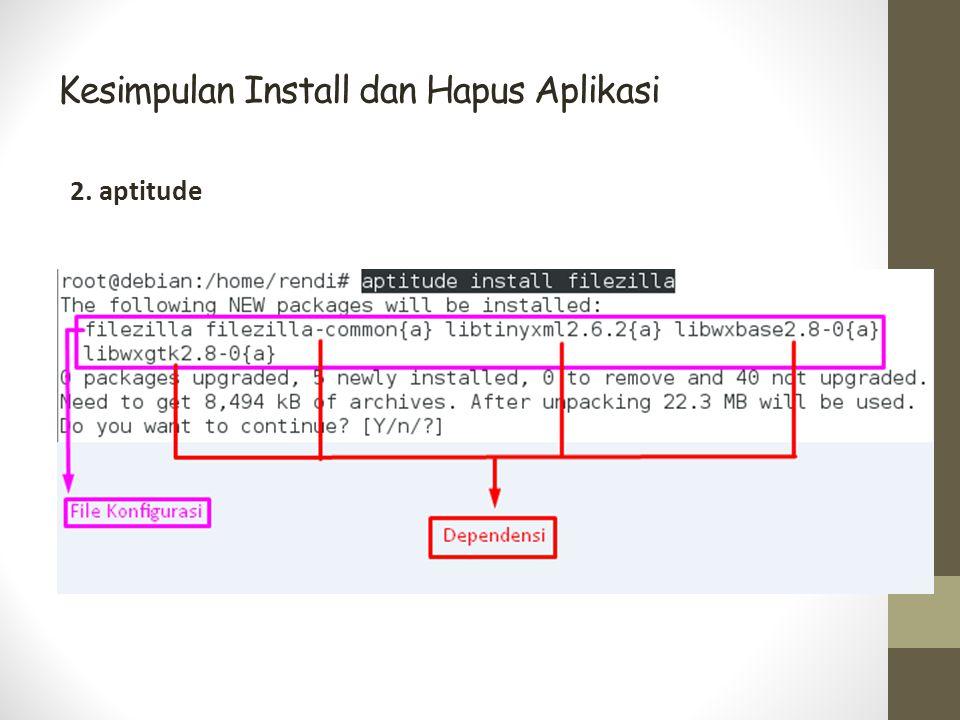 Kesimpulan Install dan Hapus Aplikasi 2. aptitude