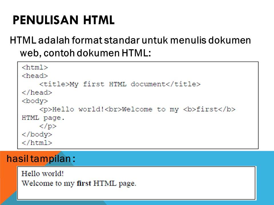 PENULISAN HTML HTML adalah format standar untuk menulis dokumen web, contoh dokumen HTML: hasil tampilan :