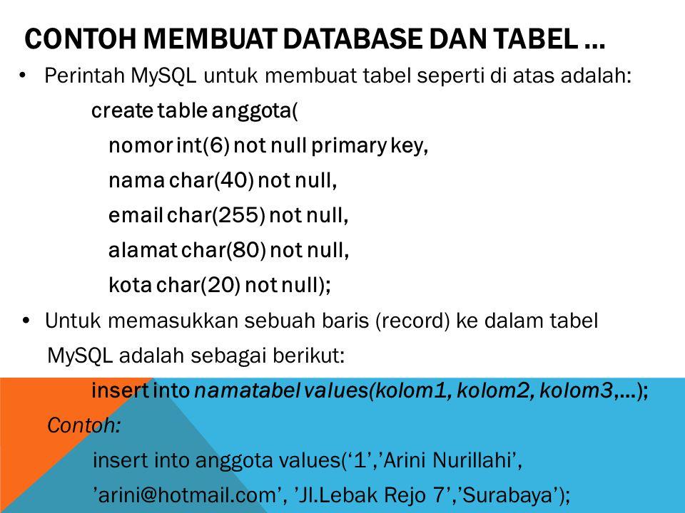 Perintah MySQL untuk membuat tabel seperti di atas adalah: create table anggota( nomor int(6) not null primary key, nama char(40) not null, email char(255) not null, alamat char(80) not null, kota char(20) not null); Untuk memasukkan sebuah baris (record) ke dalam tabel MySQL adalah sebagai berikut: insert into namatabel values(kolom1, kolom2, kolom3,…); Contoh: insert into anggota values('1','Arini Nurillahi', 'arini@hotmail.com', 'Jl.Lebak Rejo 7','Surabaya'); CONTOH MEMBUAT DATABASE DAN TABEL …