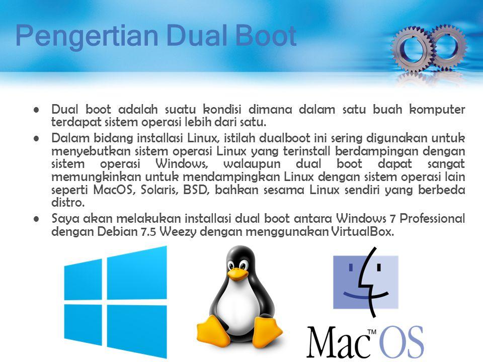 Installasi Dual Boot (Proses Install Debian 7.5) Gunakan ukuran/kapasitas yang tersisa untuk membuat partisi /home.