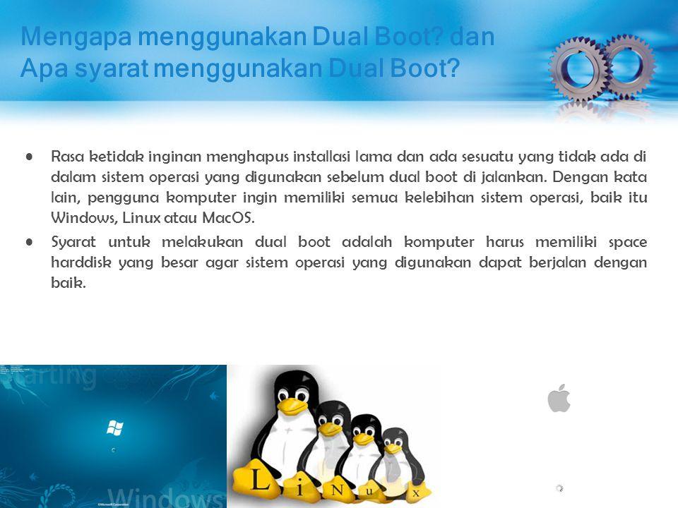 Installasi Dual Boot Buka installasi Windows 7 terlebih dahulu di VirtualBox, setelah terbuka klik Device => CD/DVD Devices => Ceklist ISO Debian 7.5 (debian-7.5.0-i386-DVD-1.iso))